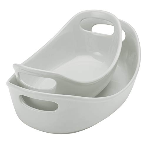 - Rachael Ray Ceramics Bubble and Brown Oval Baker Set, 2-Piece, Light Sea Salt Gray