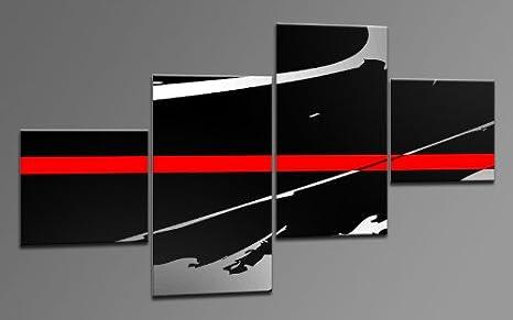 Arte Moderno como Lienzo 4 imágenes Número de Referencia m42076 Red Line Style Modern Art enmarcado sobre auténtico bastidor. Enmarcado como imagen sobre Marco. Menos Que Pintura al óleo Póster Cartel con