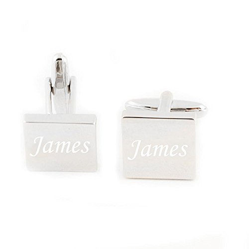 GP Personalized Cufflinks Custom Engraved Silver Square Cufflinks for Men Shirt Wedding (Engraved Personalized Cufflinks)