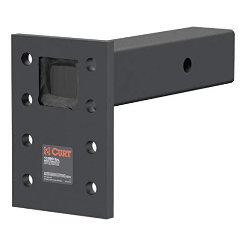 CURT 48329 Adjustable Pintle Mount for 2-1/2-Inch Hitch Receiver Black 18,000 lbs, 6-1/2-Inch Drop, 8-Inch Length