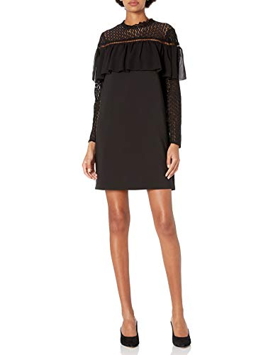 kensie Women's Thick Stretch Twill Dress Lace Sleeve and Popover, Black, S