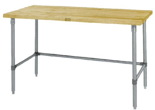 John Boos HNB14 Maple Top Work Table with Galvanized Base and Bracing, 48'' x 36'' x 1-3/4'' by John Boos