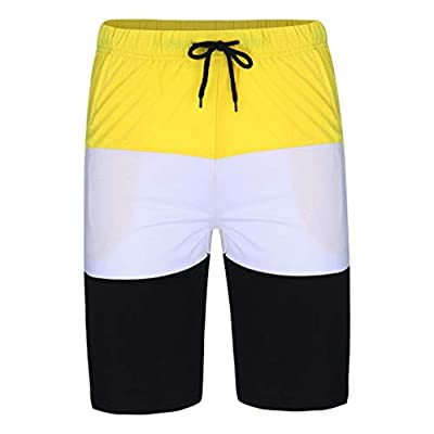 Lefthigh Men's Summer Striped Panel Casual Short Sleeve Shorts Sports Set at  Men's Clothing store