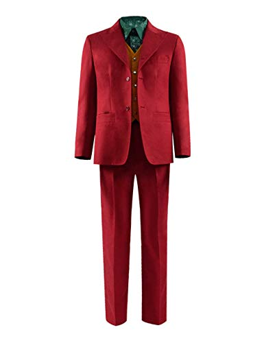VOSTE Joker Costume Halloween Cosplay Party Outfit Arkham Asylum Suit for Men (X-Small, Full Set 3 (Uniform Cloth)) -