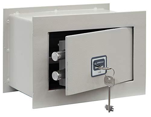 Arregui BC/0 Caja fuerte de empotrar a pared, 5 mm de espesor, apertura con llave, 18x26x15 cm, 4 L, gris claro