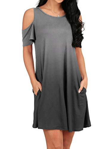 (OFEEFAN Womens Side Pockets Solid Sundress Cold Shoulder Short Sleeve Shirt Ombre Grey)