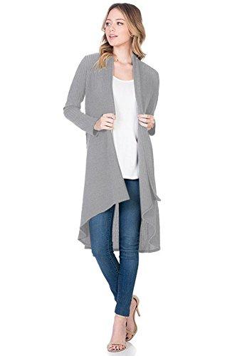 Modern Kiwi Solid Essential Long Cascading Cardigan Heather Grey Ribbed Large