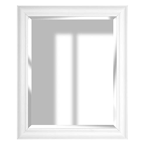 Everly Hart Collection 16x20 Whitewash Woodgrain Framed Beveled Accent Wall Mounted Mirrors, Large, White ()