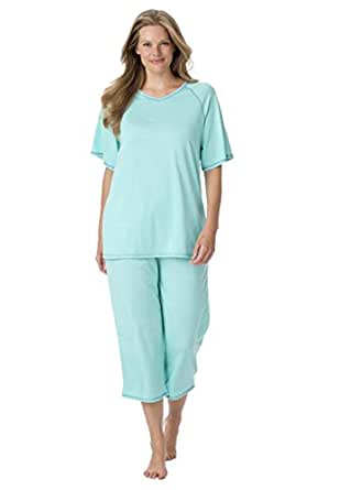 Dreams & Co. Women's Plus Size Contrast-Stitched Knit Capri Pj Set Aqua Cobalt