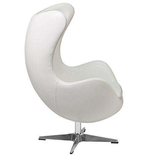 Flash Furniture Melrose White Leather Egg Chair with Tilt-Lock Mechanism