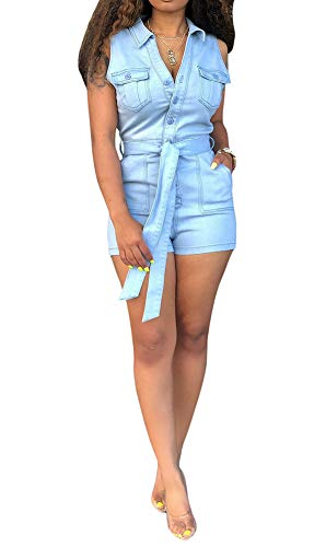 (Fastkoala Womens Sleeveless Belted Denim Jumpsuit Romper Button Down Pockets V Neck Short Pants Summer Bodycon One Piece Jumpsuits Sexy Club Tracksuit Clubwear Outfits Light Blue, XX-Large)