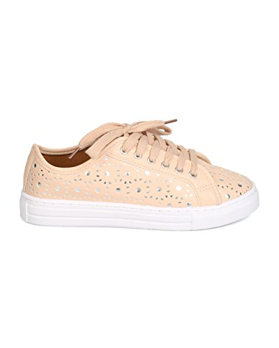 Qupid Gk01 Dames Kunstleer Geperforeerde Metallic Lace Up Sneaker - Nude