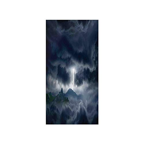 3D Decorative Film Privacy Window Film No Glue,Nature,Flash in Dark Stormy Sky Over Mountains Like Fictional Fantastic Powerful Nature Image Decorative,Blue,for Home&Office
