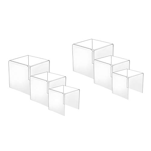 (HESIN 2 Sets Clear Acrylic Display Risers 3inch,4inch,5inch Shop Retail Bridge Rack (2 Set) )