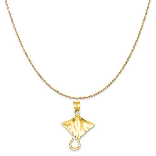 Mireval 14k Yellow Gold Stingray Pendant on a 14K Yellow Gold Rope Chain Necklace, 16