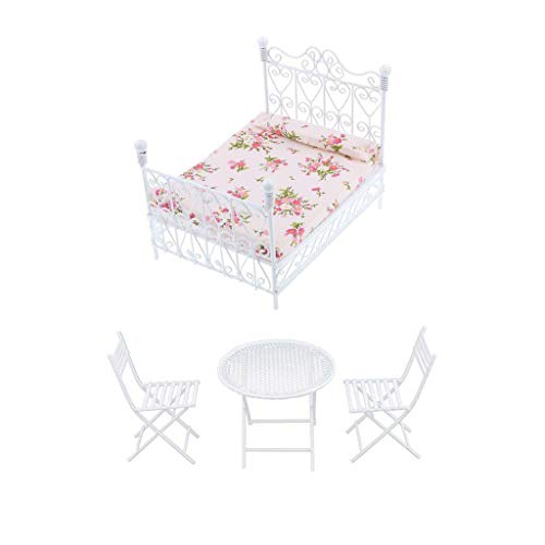 NATFUR Doll House Miniature Room Furniture Metal Table Chair Bed Set for 1:12 4pcs