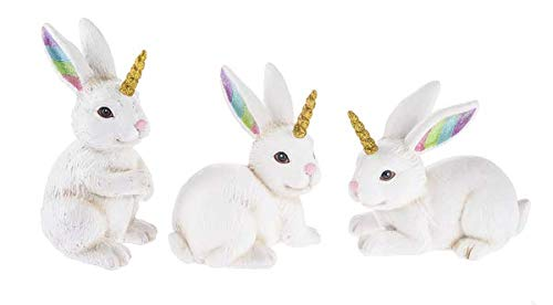 SpringGz Large Im A Bunncorn Gold and White 5 inch Resin Stone Figurines Set of 3