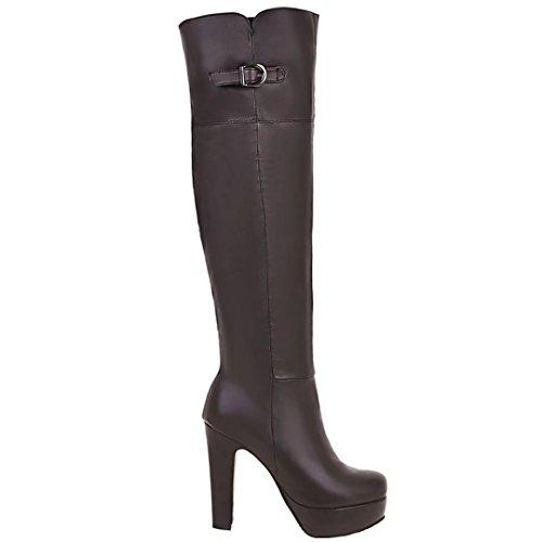 AIYOUMEI Damen Hohe Overknee Stiefel mit Schnalle und Plateau Winter Langschaft Stiefel Braun