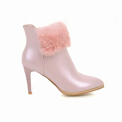 Latasa Womens Pointed Toe High Heels Ankle Dress Boots Pink dapL1QU
