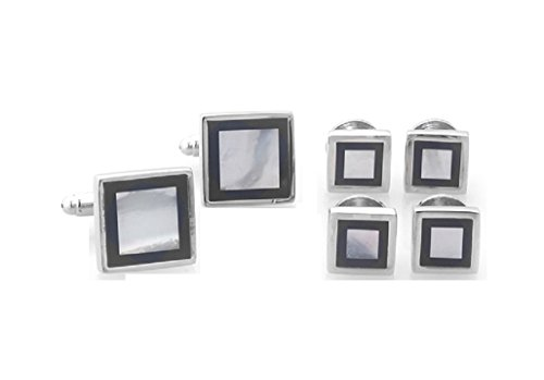 Square Framed Cufflinks - MRCUFF Mother of Pearl Onyx Square Framed Tuxedo Cufflinks & Studs Set in a Presentation Gift Box & Polishing Cloth
