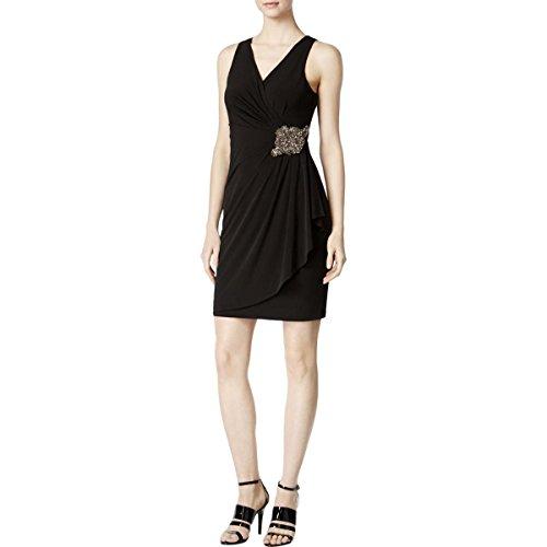 Calvin Klein Womens Matte Jersey Sleeveless Cocktail Dress Black ()