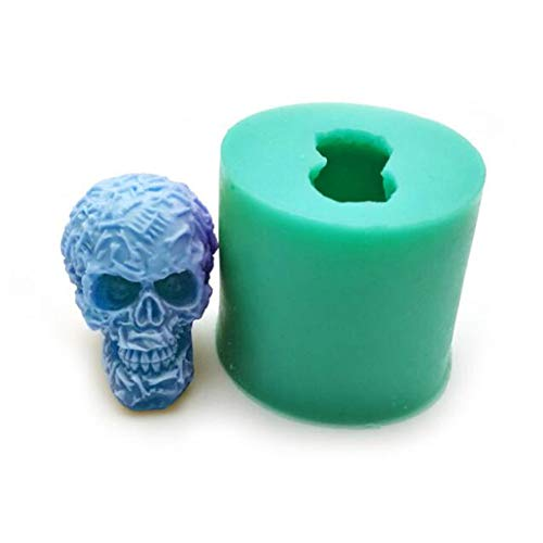 3D Halloween skull Cake Decorative Silicone Mold,Handmade Soap Candle Mold Fondant Jelly Chocolate Mousse Cake Mould Baking Aromatherapy Gypsum Polymer Clay Mould DIY Bakeware Pan Ice Cube Tray ()