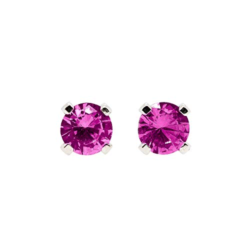 3mm Tiny Hot Pink Ruby Gemstone Stud Earrings in Sterling Silver - July birthstone