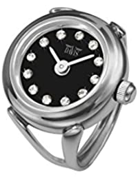 Womens Finger Ring Watch Swarovski Crystal Rhinestones Sapphire Glass Adjustable (Steel / Black Dial)