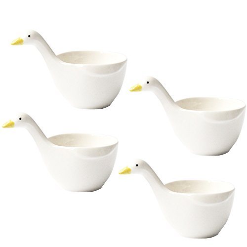 WAIT FLY 4pcs Cute Duck Shape Ceramic Dessert Bowls/Seasoning Dishes/Dipping Bowls/Ketchup Saucer/Tea Bag Holders for Salad Pudding Yogurt Best for Home Kitchen