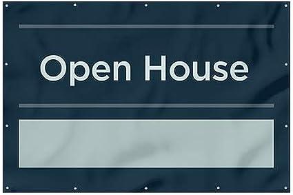 CGSignLab Open House Basic Navy Wind-Resistant Outdoor Mesh Vinyl Banner 12x8