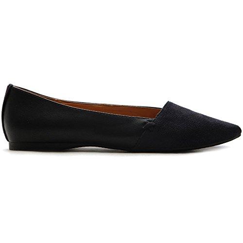 Faux Comfort Suede Ollio Women's Ballet Flat Shoe Black TqTg1a8