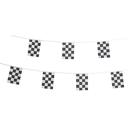 Racing Satin - Checkered Racing Flag,TSMD 100 Feet Small Black & White Checkered Race Car Pennant Flags Banners,Party Decorations Supplies For Racing,Race Car Party,Sport Events,Kids Birthday
