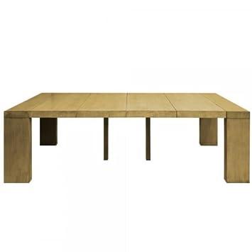 Table console extensible 4 rallonges Melton - Chêne clair: Amazon.fr ...