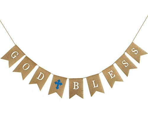 Bless God Baby Cross (OZXCHIXU TM GOD BLESS with Blue Cross Baptism Burlap Banner, Baby Shower,First Communion,Garlands Christmas Wedding Party Christening Decoration)