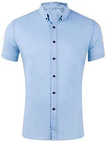 Hibluco Men's Short Sleeve Button Down Solid Casual Dress Shirt Sky Blue