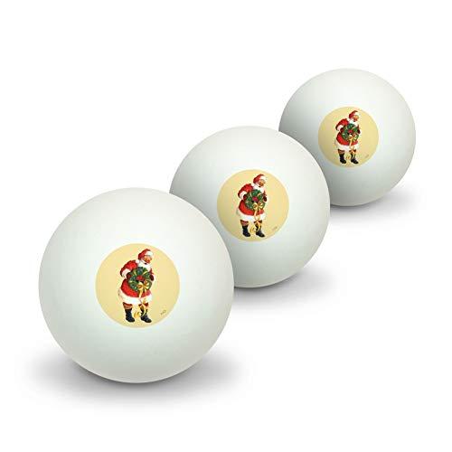 GRAPHICS & MORE Christmas Holiday Santa Holding Wreath Novelty Table Tennis Ping Pong Ball 3 Pack