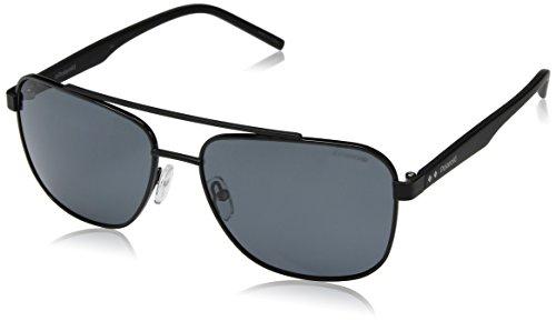 Polaroid Sunglasses Men's Pld2044us Polarized Rectangular Sunglasses, Black, 60 mm 2044 Designer Sunglasses