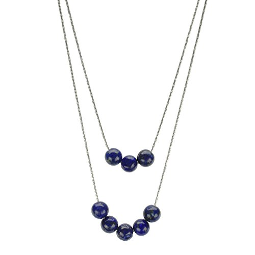 2-Strand Blue Lapis Stone Sterling Silver Chain Necklace 20