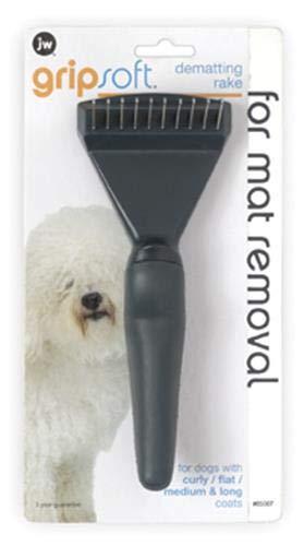 JW Pet Company GripSoft Dematting Rake Dog Brush ()