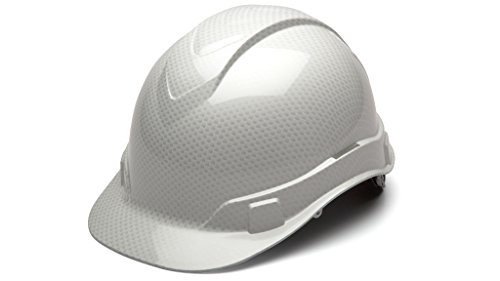 Cap Style Hard Hat, Adjustable Ratchet 4 Pt Suspension, Durable Protection safety helmet, White Shiny Graphite Pattern Design, by Tuff America by Pyramex (Image #2)