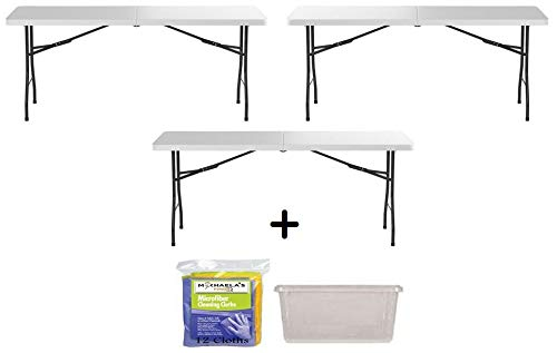 6′ Folding Table Portable Plastic Indoor Outdoor Picnic Party Dining Camp Tables (3, White)