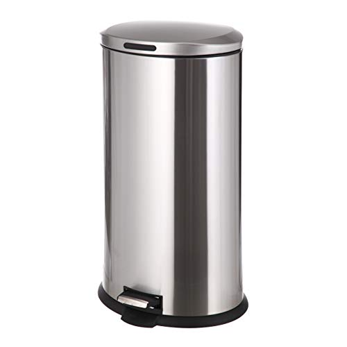 Home Zone Stainless Steel Kitchen Trash Can with Oval Design and Step Pedal   30 Liter / 8 Gallon Storage with Removable Plastic Trash Bin Liner, Silver