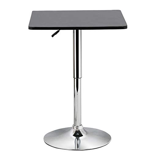 Yaheetech Adjustable High Bar Table Pub Table Square Black MDF Top with Silver Leg Base 27.6-35.4