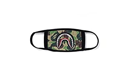 Srovfidy Fashion a Bathing ape Bape Shark nero maschera camouflage mouth-muffle Bape cover (A)