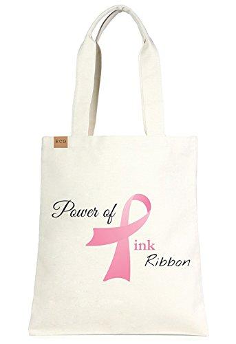 Eco-Friendly Multi Purpose Fashion Printed Canvas Beach Shoulder Tote Bag.(177-Pink ribbon)