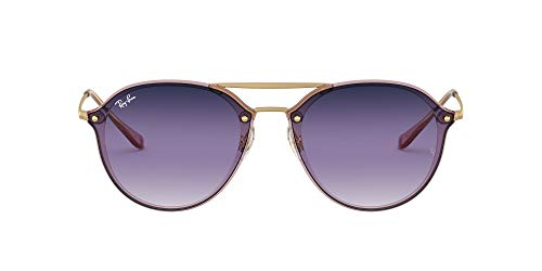 Ray-Ban RB4292N Blaze Double Bridge Square Sunglasses, Pink/Violet Blue Gradient Mirror, 61 mm (Billig Ray Ban Lesebrille)