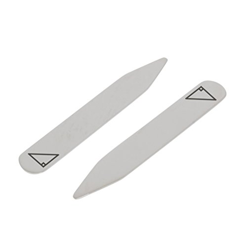 MODERN GOODS SHOP Stainless Steel Collar Stays With Laser Engraved Right Triangle Design - 2.5 Inch Metal Collar Stiffeners - Made In USA by Modern Accessories Co