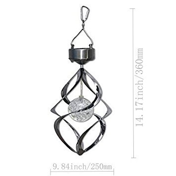 MEIO Solar Energy Powered Home Wind Chimes Light, Outdoor Crystal Color Changing Spinner, Solar Powered LED Wind Spinner Light