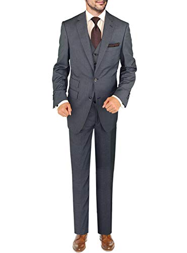 DTI BB Signature Italian Wool Vested Men's Suit 3 Piece Jacket Slacks Waistcoat (38 Short US / 48S EU/W 32
