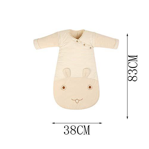 Saco de Dormir para bebés, Engrosamiento en otoño e Invierno, Seta Anti-Kick de algodón Color Seta bebé niño, Manga Gruesa y Desmontable Gruesa, ...